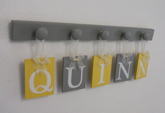 Baby Girl Rooms Hanging Ribbon Letter Name Plates Personalized for QUINN with 5 Grey Wood Pegs Yellow and Gray on Etsy, $29.00