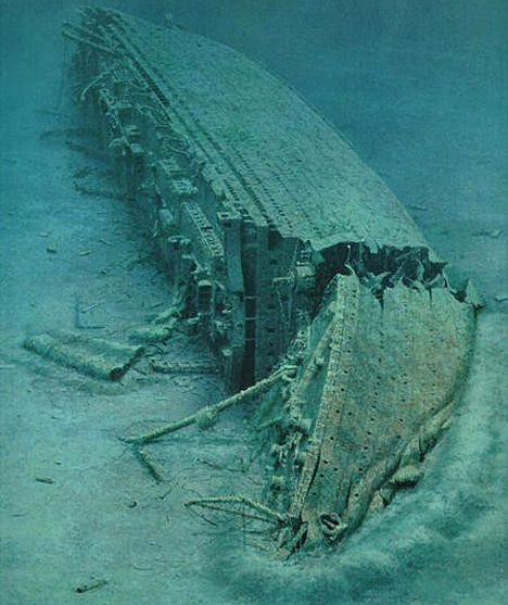 """Titanic's sunken sister ship """"Britannic"""" lies on its starboard side in the Aegean Sea. Description from pinterest.com. I searched for this on bing.com/images"""