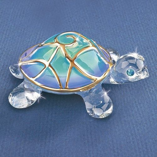 Tiffany The Turtle Glass Figurine w/ Swarovski Elements