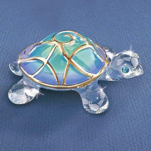 Tiffany The Turtle Glass Figurine w/ Swarovski Elements