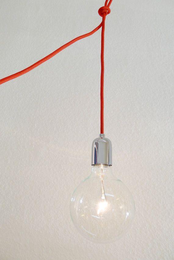 lampe mit textilkabel für wohnzimmer, haken für versch. positionen für esstisch