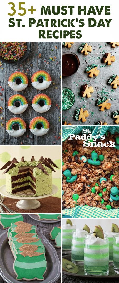 35+ Must Have St. Patrick's Day Recipes - full of green and Irish food ideas for St. Patrick's Day! Pot o' Gold Cookies via The First Year (below) Double Chocolate Stout Mousse Cake via Sprinkle Bakes Broccomole via Domestic Fits Ice Cream Jello via The Food Librarian Bailey's Irish Cream Cookies via Buttercream Blondie (below) Key Lime Baby Cakes via A Farmgirl's Dabbles Vegan Spinach Dip via The Lunch Box Bunch Rainbow Smoothie via The First Year (below) Shamrock Shake R...