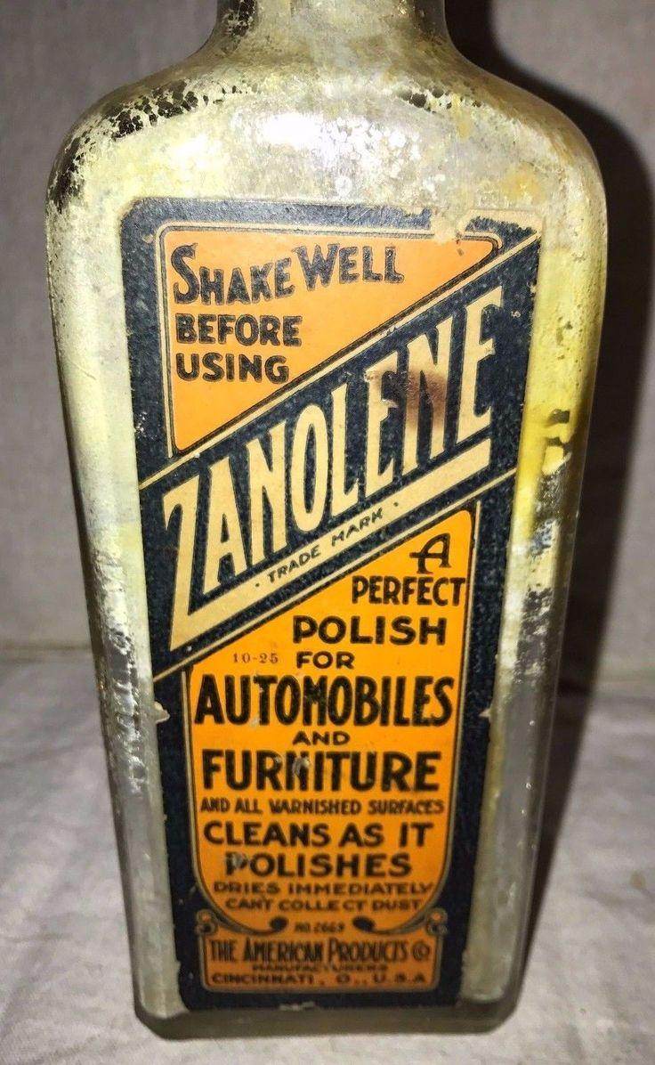 ANTIQUE ZANOLENE CAR AUTO POLISH CORK BOTTLE CINCINNATI OHIO VINTAGE CLEANER OLD   eBay