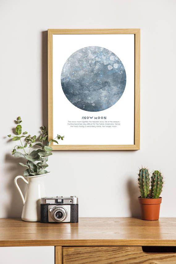 Full 'Snow Moon' digital download print. Native
