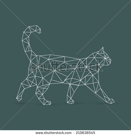 Geometric cat - vector illustration Plus