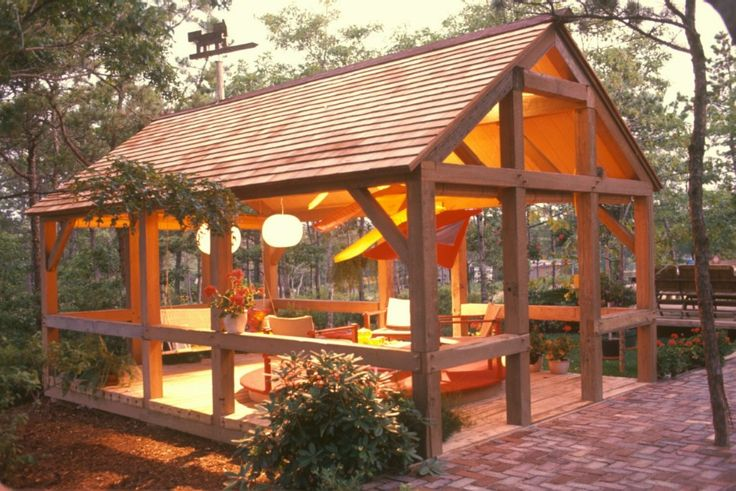 This round post & beam outdoor living room is an extension off the barn home's silo! Description from yankeebarnhomes.com. I searched for this on bing.com/images