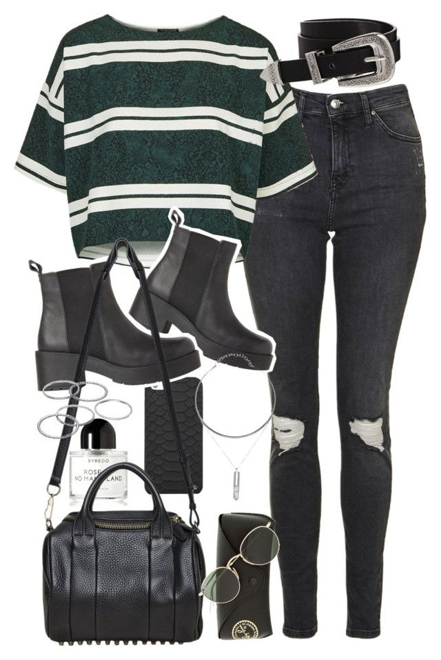 """Outfit with black boots and ripped jeans"" by ferned ❤ liked on Polyvore featuring Topshop, GiGi New York, Byredo, ASOS, Alexander Wang, Apt. 9 and Ray-Ban"