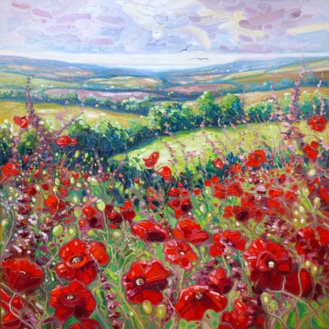 """Summer Poppies in a Sussex Meadow By Gill Bustamante """"This is large expressionist landscape in reds and greens showing big mad poppies in a green Sussex field. The view extends over fields towards the sea. It is loosely based on a place I found near Lewes this summer (2014) and is a celebration of the abundance of life we saw this year. It is painted on 3D - wide edged canvas in thick oil paint."""" Lovely...I am nuts about poppies"""