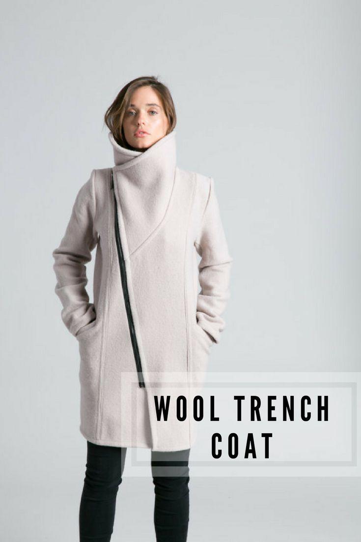 Handmade Wool Trench Coat. I love the high neckline. #ad #etsy