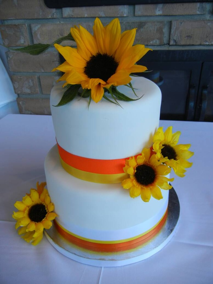 2 tier Sunflower Cake.This cake had both tiers made with