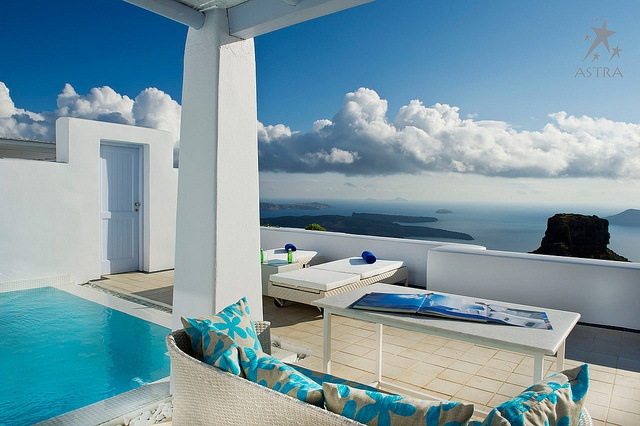 Enjoy the breathtaking view in your pool Suite at Astra Suites