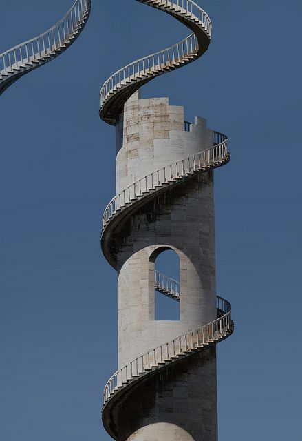 spiral staircase, right off the tower