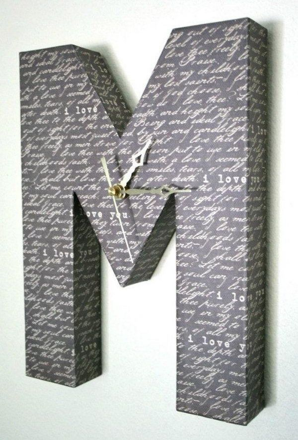 Letter M Wall Clock - Cool DIY Cardboard Letters, http://hative.com/cool-diy-cardboard-letters/,