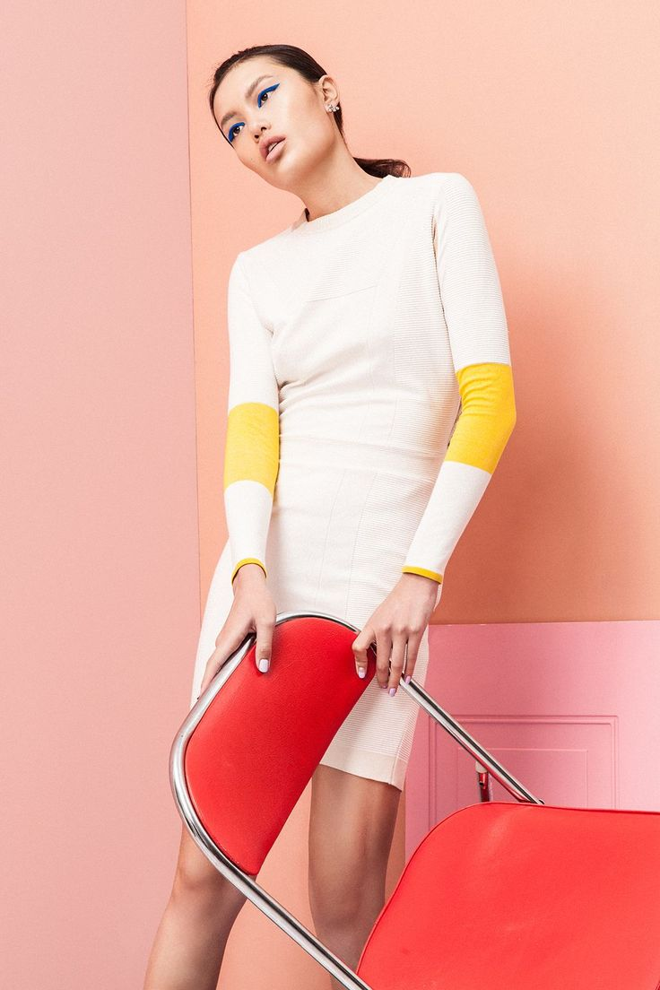 Why stop at one pop of neon? Find a simple sheath dress with punchy accents to bring your bright look full circle.Belstaff dress. Dannijo Marilu Earrings, $170, available at Dannijo.  #refinery29 http://www.refinery29.com/new-spring-2016-beauty-trends#slide-6