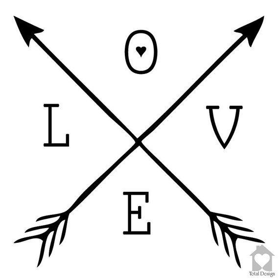 love vinyl wall decorn arrow heart decal home art quote. Black Bedroom Furniture Sets. Home Design Ideas