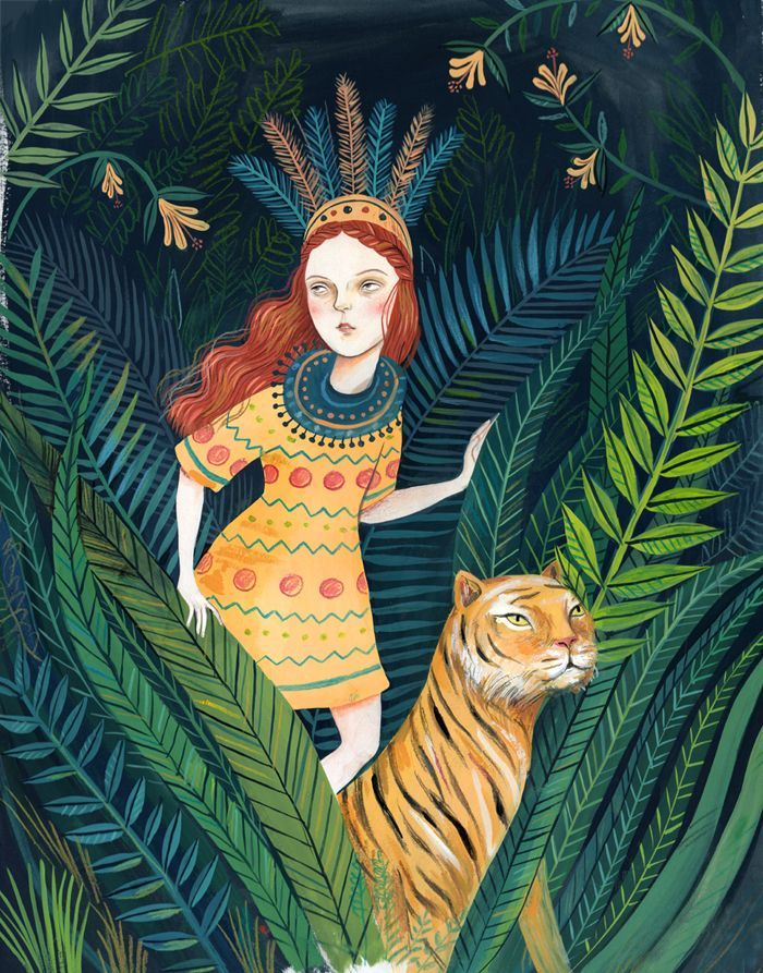 Helena Perez Garcia's illustration of a tiger and woman in the jungle