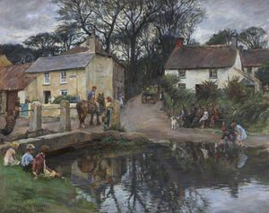 Village Rendezvous, Copperhouse Creek, Near Hayle - (Elizabeth (Adela) Stanhope Forbes)
