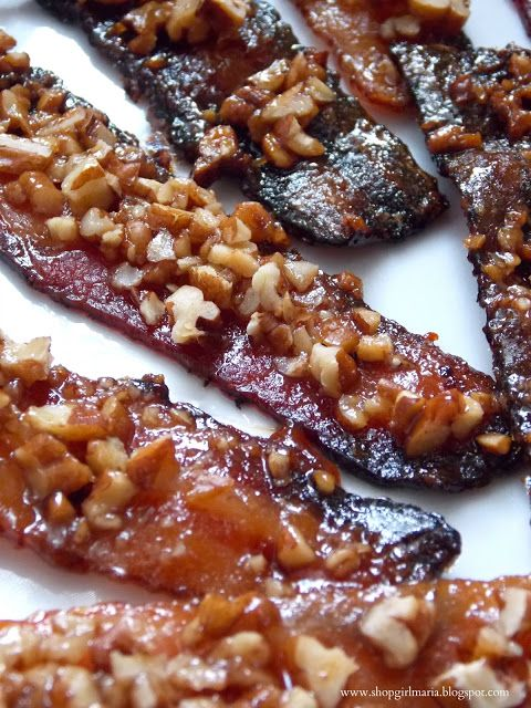 Caramelized Bacon - first off, it's BACON, so nothing else needs to be said, BUT.... it's bacon topped with brown sugar, pecans and maple syrup, then baked in the oven.    And they all lived happily ever after!