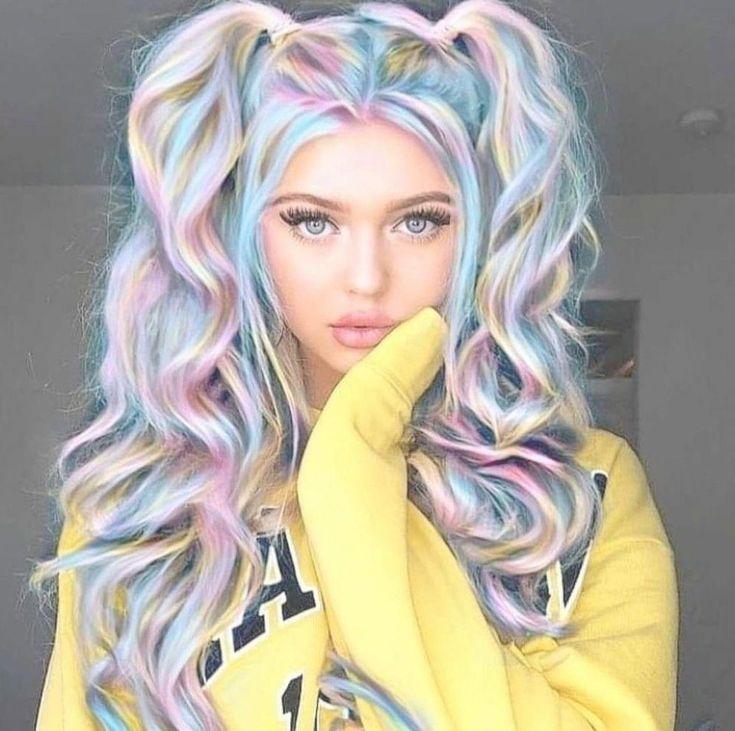 36 Awesome Women Rainbow Hair Colors Ideas Perfect For This Summer Mermaidhaircolor In 2020 Tie Dye Hair Hair Styles Unicorn Hair Color