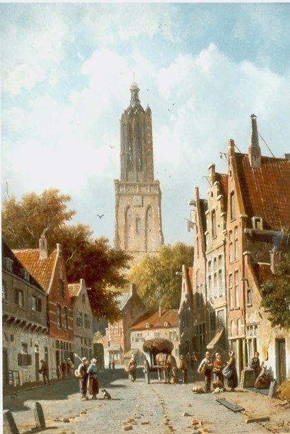 Adrianus Eversen (Amsterdam 1818-1897 Delft) Straatje te Amersfoort.