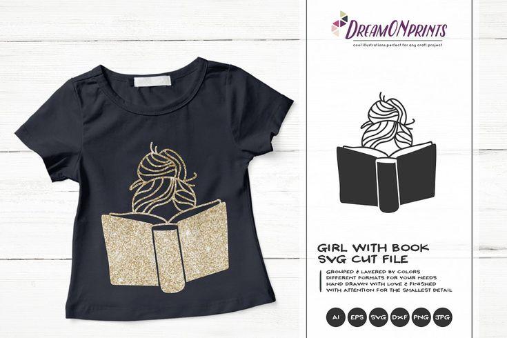 Download Girl Reading Book SVG | Book Lover SVG Design | Girl ...