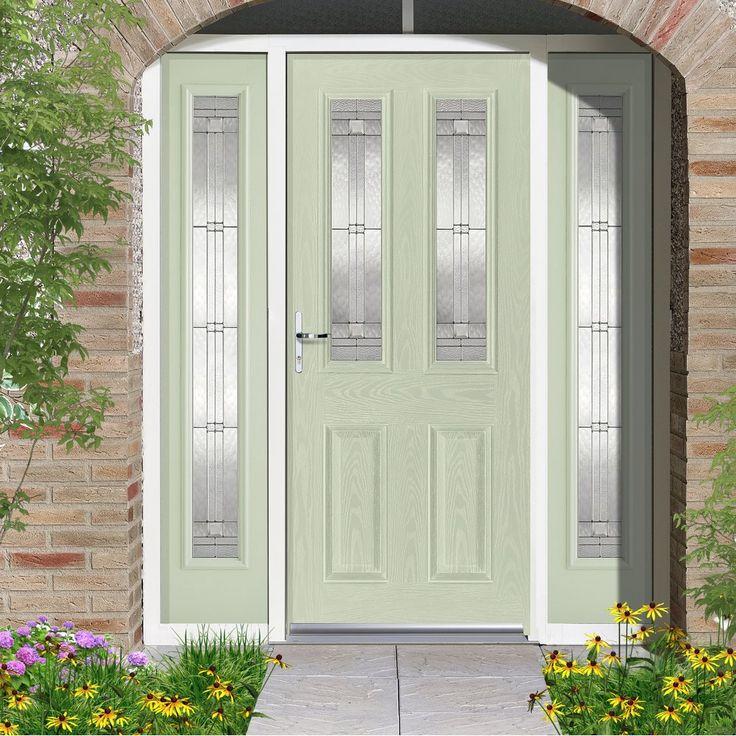 GRP Green & White Malton Glazed Composite Door with Two Sidelights. #entrance #doortohome #externaldoor