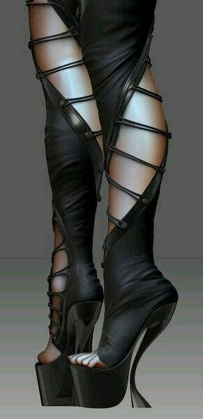 Zelfgemaakte laarzen gothic stijl of rock