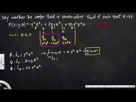 potential function of the conservative vector field, three dimensions  -...