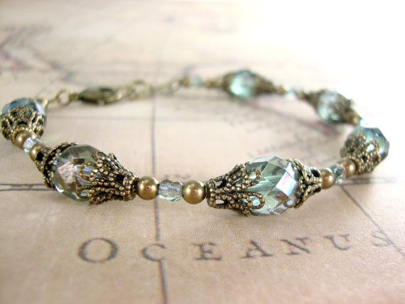 Stormy Seas  Dusty Teal Vintage Style Bracelet  by ArdentHearts
