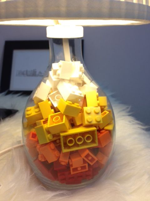 Lego Lamp Love - IKEA Hackers  ---I thought of this when I saw this lamp, but I was thinking of seashells.