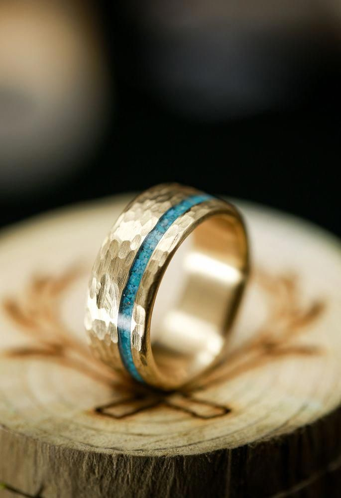 Vertigo In 14k Gold With Turquoise And Hammered Finish Available In 14k White Rose Or Turquoise Wedding Rings Etsy Wedding Rings Turquoise Ring Engagement