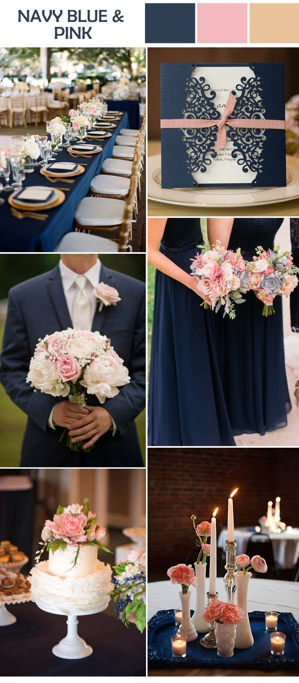 elegant pastel pink floral and navy wedding color inspiration