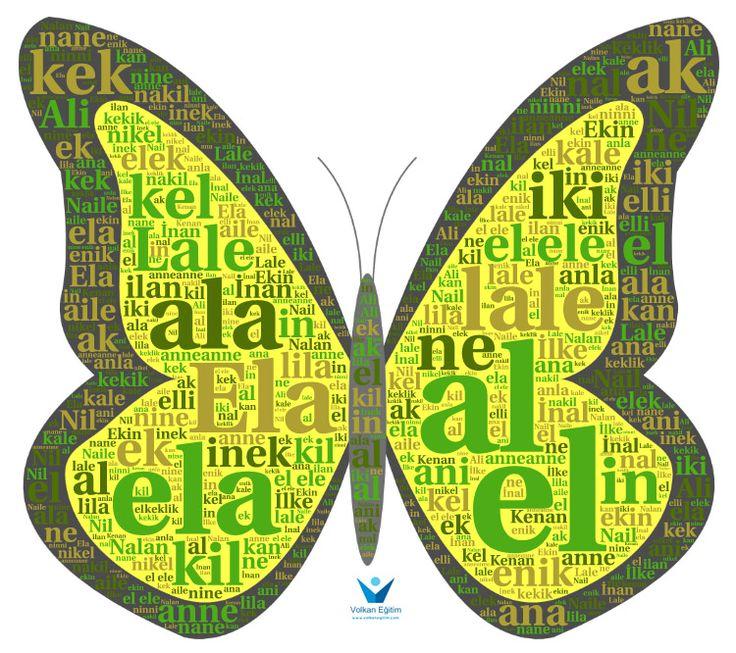 """1. Sınıf İlkokuma 1. Grup Harfler İle Pano Çalışması  AçıklamaKelebek şekli içerisinde 1. grup """"e-l-a-k-i-n"""" harflerini kullanarak oluşturulmuş kelimeler içermektedir. Dosyada 3 farklı uygulama mevcuttur. Panoya asabilirsiniz."""