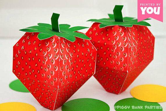 Strawberry Favor Box  DIY Printable Fruit PDF  by PiggyBankParties, $9.00