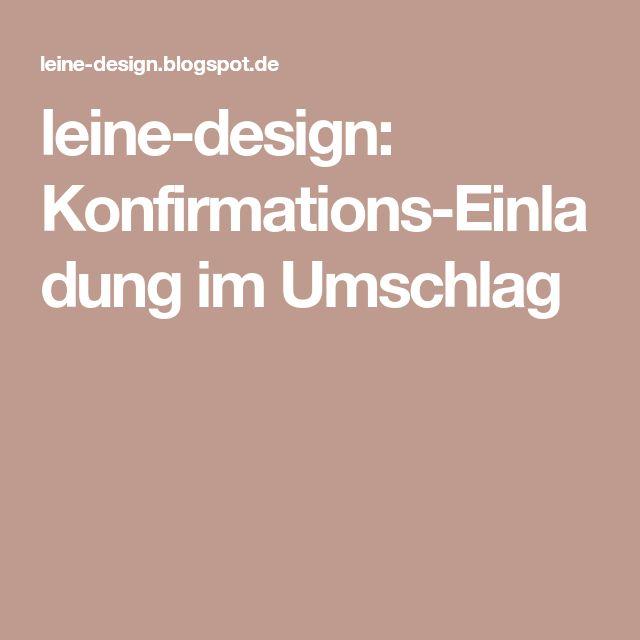 Leine Design: Konfirmations Einladung Im Umschlag