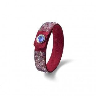 Oliver Weber Women red small disco bracelet glitter alcantara with Swarovski Crystals
