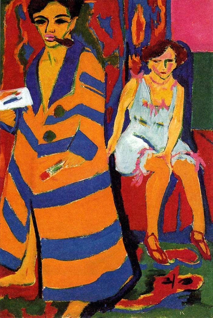 Ernst Kirchner, 'Self Portrait with His Model (1907)    German Expressionist (co-founder of the influential Die Brücke group) (1880-1938)