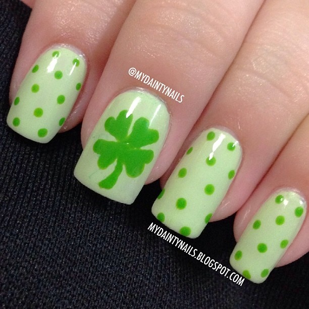 72 best st patricks day nail designs images on pinterest 4 leaf clover nails by mydaintynails prinsesfo Gallery