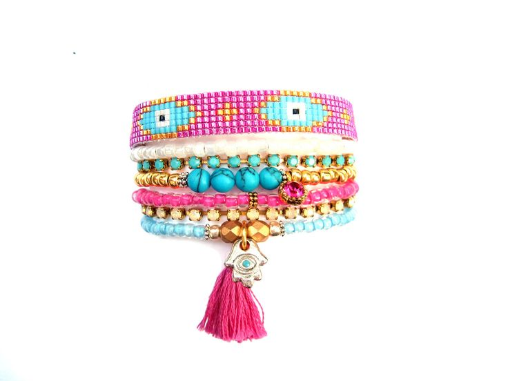 Multi Strand Beaded Bracelet - Pink Evil Eye