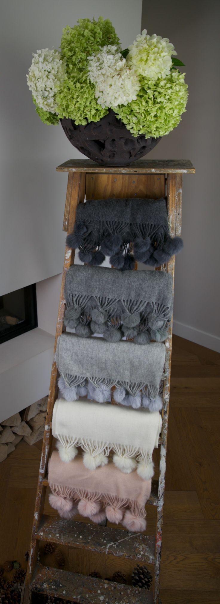 Cashmere blend scarves with pompoms