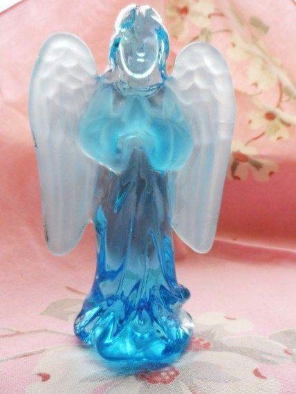 Vintage Solid Blue Glass Praying Angel Figurine Clear