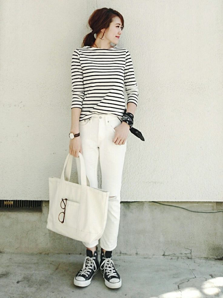 striped tee, white jeans, black socks, converse, black watch