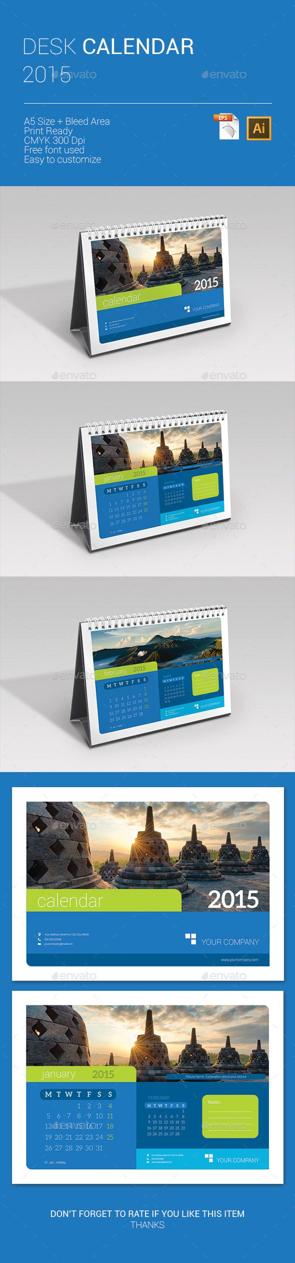 Desk Calendar 2015 Template | Buy and Download: http://graphicriver.net/item/desk-calendar-2015/9670840?ref=ksioks