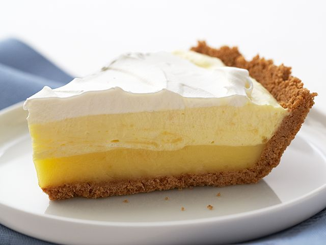Hello, sunshine. Three layers—fluffy, creamy and cool—come together to make this perfect no-bake pie.