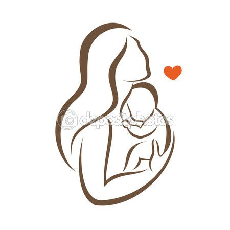 Mother and baby stylized vector silhouette — Stock Illustration #83671088