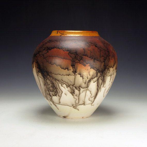 Horse Hair Raku Pottery, crackle glaze, black, orange, cream and white on Etsy, $225.00