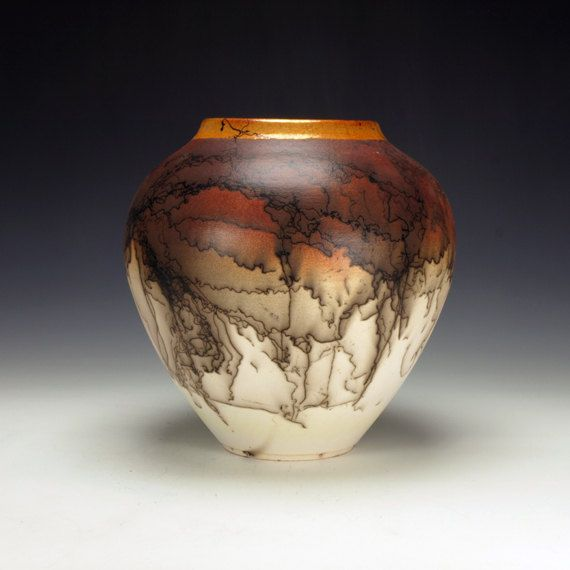 Horse Hair Raku Pottery, crackle glaze, black, orange, cream and white on Etsy, $225.00