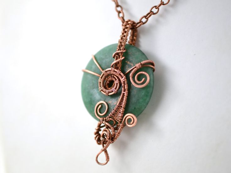 Matte Green Aventurine Gemstone Pendants Donut Wired Copper Necklace Wire…