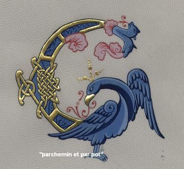 calligraphy - hand lettering - illuminated letters - image parchemin et par pot image claire travers image blodaivet image Véronique Frampas