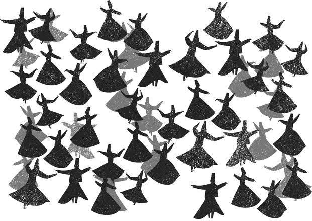 Whirling dervish pattern